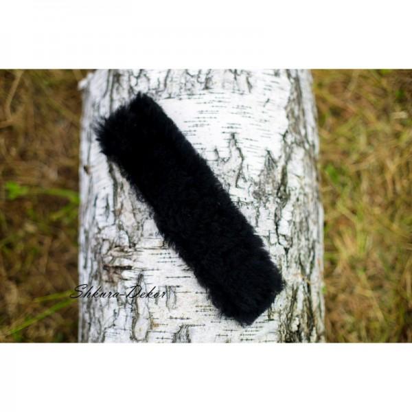 Натуральный мех черный 33см на уздечку на тканевой подложке с липучками