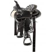 Седло вестерн для пони Черно-Белое