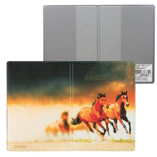 Обложка для паспорта Лошади из кожзама