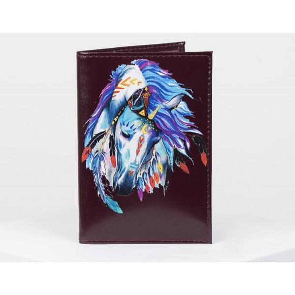 Обложка для паспорта бордо принт лошадь