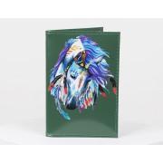 Обложка для паспорта зеленая принт лошадь
