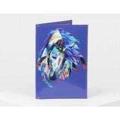 Обложка для паспорта фиолетовая принт лошадь