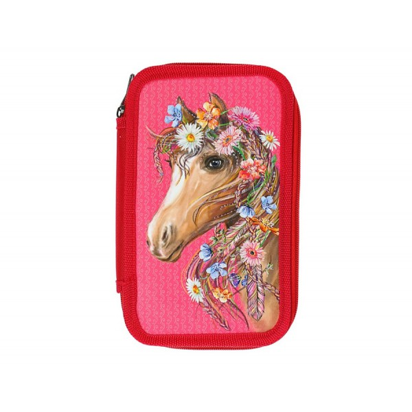 Пенал 2 секции Лошадь с цветочной гривой