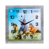 """Часы настенные, серия: Животный мир """"Кони"""" 25х25 см микс"""