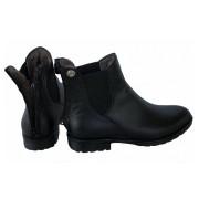 Ботинки кожаные зимние на искусственном меху на резинке молния сзади