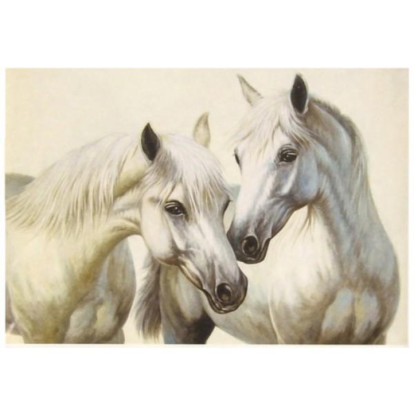 Декупажная карта Белые лошади